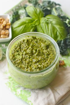 KALE WALNUT PESTO:       1/2 cup Kale, cleaned and chopped      1/4 cup basil leaves     1/2 cup walnuts     1 clove garlic     1/2 tsp salt     1/2 shredded parmesan cheese     1/2-3/4 cup extra virgin olive oil