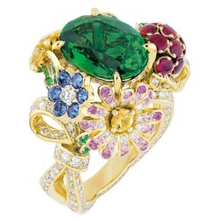 """My Dior"" range collection ring featuring yellow gold, emeralds, diamonds, rubies, sapphires, yellow sapphires and pink sapphires"