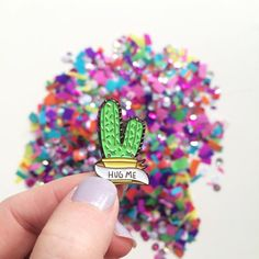 Hug me Cactus enamel pin by KayleyDraws on Etsy