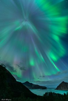 Auroral burst taken September 12, 2014 near Kvaløya, Tromsø, Norway.