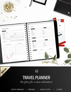 Printable Travel Planner • Stylish & beautiful organiser • Organisational tool • Vacations • Camping planning • Holiday planning • Road trip planning • Weekend escape planning • Travel Journal • Beach trip planning • Flights • Accommodation • Holiday itinerary • Restaurants • Sightseeing • Markets & events • Shops & Cafes