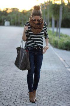 cute scarf + stripes