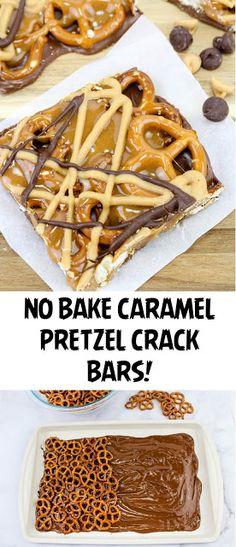 No Bake Caramel Pretzel Crack Bars! - No Bake Caramel Pretzel Crack Bars! Pretzel Desserts, Köstliche Desserts, Delicious Desserts, Dessert Recipes, Holiday Baking, Christmas Baking, Christmas Cookies, Christmas Desserts Easy, Christmas Sweets