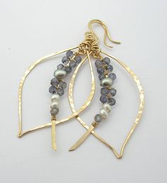 Items similar to Iolite Woven tusk Leaf Hoop Earrings on Etsy Glass Earrings, Gemstone Earrings, Glass Jewelry, Beaded Earrings, Earrings Handmade, Handmade Jewelry, Hoop Earrings, Wire Wrapped Jewelry, Wire Jewelry