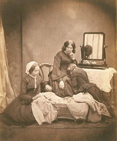 Mother and Daughter Mourning Deceased Child by Roger Fenton