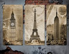 London Paris and New York on Metal Triptych  by ArtHouseGraffiti, $350.00