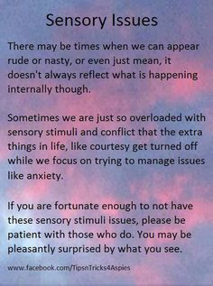 Sensory Issues - Sometimes we just need to get away ASAP because something is too much.