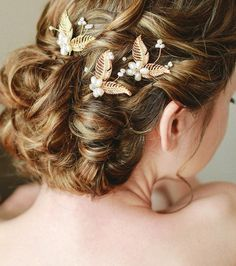 Bridal Gold Pearl Hairpin Set Bridal Flower by SheetaDesign