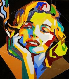 Artique | Stained glass portrait of Marilyn Monroe, Pop Art | Volodymyr Blashchuk