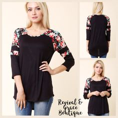 "NEW ARRIVAL❤💕    The Bentley Top $29.50    FAST, FREE SHIPPING IN THE USA! Canada $5    NEW ARRIVAL! Floral and Black Raglan 3/4 sleeve top😍 solid Hi-Low with Floral Contrast and stripe on the sleeve.     Material: 95% Rayon / 5% Spandex    Length: 29"" on the Large    Available Sizes: Small (0-5), Medium (6-9), Large (9-12)    True to Size      