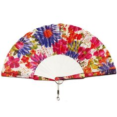 Spanish hand painted wooden and silk fan