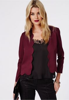 Laurie Scallop Cropped Blazer Oxblood - $17.00