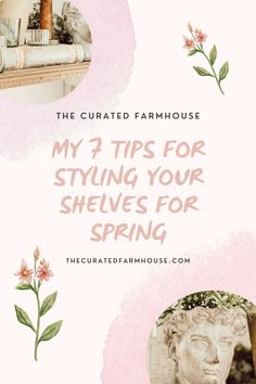 7 Tips For Styling Your Shelves for Spring Farmhouse Bedroom Furniture, Farmhouse Chairs, Antique Farmhouse, Farmhouse Decor, Head Planters, Large Planters, Cheap Wall Art, Glass Tea Light Holders, Green Garland