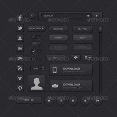Simple Dark UI Kit  #GraphicRiver         A simple UI Kit with over 25 multi-purpose completely editable dark UI elements.   Font used: HELVETICA NEUE   Elements list:   - Sliders - Dropdown - Close button - Tool tip - Social Media - Player controls - Checkboxes - Radio controls - Time Selection - Avatar - Navigation bar - Large download - App Store download - Small download - Tag button - Settings Dropdown - Scroll bar - Rounded buttons - Square buttons - Navigation bar     Created…
