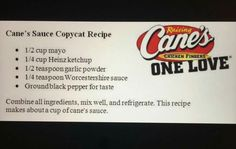 Cane's Sauce Copycat Recipe: Ummm NOT Cane's Sauce. It was pretty good. Made this a couple of weeks ago w/ some fried chicken. Good enough, but missing the secret ingredient. Copycat Recipes, Sauce Recipes, My Recipes, Cooking Recipes, Favorite Recipes, Recipies, Learn To Cook, Food To Make, Gourmet