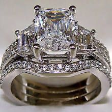 3.10ct Radiant Cut Engagement Ring With 2 Matching Wedding Bands 14k