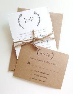 Rustic Wreath Wedding Invitations with torn by LemonInvitations, $2.75