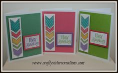 Birthday cards using Paper Fundamentals by Close To My Heart and the Charming Chevrons stamp set. www.craftysisterscreations.com