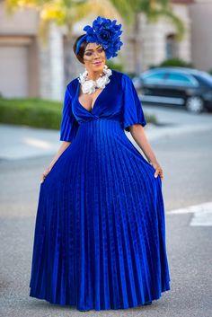 Royal Blue Velvet Maxi + Fascinator