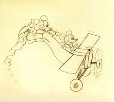 "This is a Ub Iwerks animation drawing: ""Plane Crazy"" - born Ubbe Eert Iwerks, (March 24, 1901 – July 7, 1971) was a two-time Academy Award winning American animator, cartoonist, character designer, inventor, and special effects technician, who co-created Oswald the Lucky Rabbit and Mickey Mouse with Walt Disney (MP)"