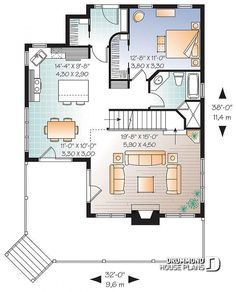 28x36 Cottage Style House Plan 3 Beds 2 Baths 1370 Sq/Ft Plan #23 2295 Floor Plan Main