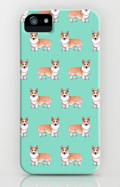 """Corgi dog"" Galaxy, iPhone & iPod Cases by Savousepate on Society6 #galaxycase #iphonecase #phonecase #ipodcase #pattern #drawing #watercolor #painting #corgis #dogs #cute #white #orange #ginger #blue #green #turquoise #aqua #mint"