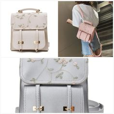 Cherry blossom embroidery backpack  #fashionworld #fusion8lux #mensfashion #menfashionreview #instafashion #ootd Embroidery Bags, Embroidery Bracelets, Cute Embroidery, Beaded Embroidery, Bow Clutch, Pink Petals, Gifts For Friends, Cherry Blossom, Leather Shoulder Bag