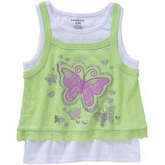 Garanimals Baby Toddler Girl 2-Fer Tank, Size: 5 Years, Green