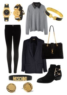 Date with a Boy by tamara-katharina on Polyvore featuring polyvore, fashion, style, rag & bone, Forte Forte, J Brand, Steve Madden, Yves Saint Laurent, Versace, Moschino, Hermès, Marc by Marc Jacobs and clothing