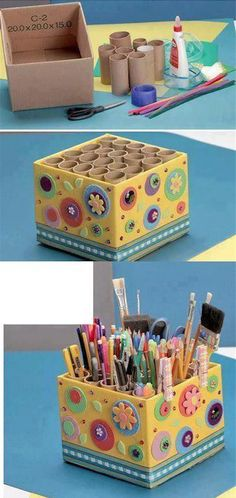 Love this storage idea using cardboard tubes inside a decorated cardboard box!DIY holder for pencils, markers, scissors, paint brushes, pensVery handy idea Cardboard Storage, Diy Storage Boxes, Cardboard Box Crafts, Paper Crafts, Cardboard Tubes, Cardboard Box Ideas For Kids, Art Storage, Storage Ideas, Diy Home Crafts