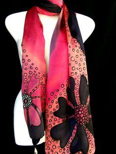 Foulard en soie foulard en soie peinte à la main noir rouge