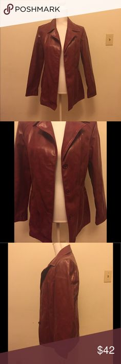 Paris blues burgundy faux leather jacket 100% polyurethane. Looks like leather. Super cute! Paris Blues Jackets & Coats Blazers