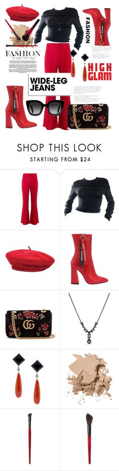 """""""Trendy 💋"""" by meganvee ❤ liked on Polyvore featuring Chloé, Versace, Brixton, Havva, Gucci, Givenchy, Pampillonia, Bobbi Brown Cosmetics, Revlon and Smashbox"""