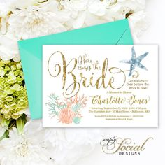 Mermaid bridal shower mermaid bridal showers invitation ideas under the sea coral starfish printable bridal shower invitation nautical here comes the bride filmwisefo Images