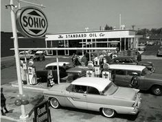 Got gas? Vintage gas stations Old Gas Stations Drive In, Old Gas Pumps, Vintage Gas Pumps, Pictures Of Gases, Buick, Pompe A Essence, Gas Service, Old Garage, Standard Oil