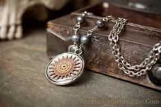 SALE  Steampunk Necklace  Gears in Resin with by AlternateHistory