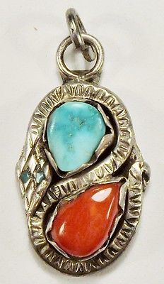 Unsigned - ZUNI - Sterling Silver Turquoise Red Coral Snake Pendant - VINTAGE