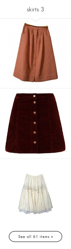 """skirts 3"" by viventlespeuples ❤ liked on Polyvore featuring skirts, bottoms, pink skirt, brown skirt, brown midi skirt, asos skirts, mid-calf skirt, mini skirts, clothing - skirts and corduroy a line skirt"
