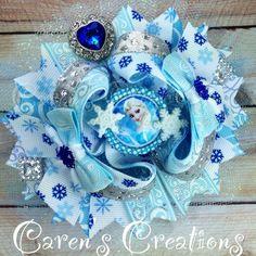 frozen bottle cap images | Elsa stacked boutique bow, Disney, Frozen, Queen Elsa, hair bow, bow ...