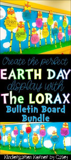 Kindergarten Korner by Casey: Create the Perfect Earth Day Display:  The LORAX Inspired Bulletin Board Bundle Persuasive Writing Opinion Writing Truffula Trees The Lorax Story Elements Bulletin Board Craft