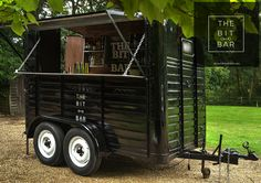 The Bit bar ready to serve you. A vintage Rice horse box converted into a fully functioning cocktail bar.