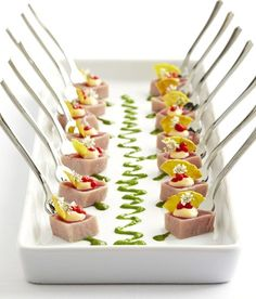 Tuna Ceviche with Ginger Lime Curd and Chili Pears. A #delicious creation by #RidgewellsCatering #horderve #yummy