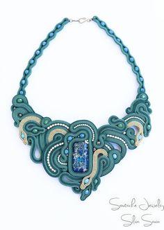 Green / Blue / Gold unique soutache necklace