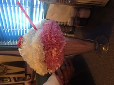 Carnation flower ice cream sundae table decorations....could even make with tissue paper flowers