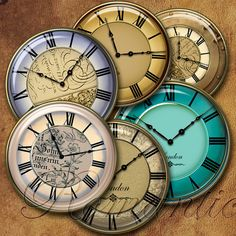 1 inch circle Vintage Clock Faces printable digital collage sheet  Jewelry Supplies Instant Download by RomanticLetters on Etsy https://www.etsy.com/listing/155228565/1-inch-circle-vintage-clock-faces