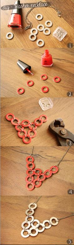DIY Washer Necklace Tutorial   10 Easy & Cool DIY Jewelry Ideas  DIY Accesories, see more at http://diyready.com/diy-jewelry-cool-easy-diy-jewelry-ideas