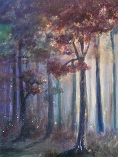 """Dark and Deep"" - Original forest woods fairy firefly fantasy magic landscape autumn red orange yellow purple acrylic painting 18"" x 24"""