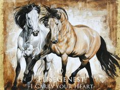 "I carry your heart - by Élise Genest New painting (sold - will be available as a giclée print): I carry your Heart"", which title is from one of my favorite pems, by EE Cummings. The magnificent subjects are Acolito Interagro and Ubrique Interagro, from South Gate Farm, Florida. Mixed media with gold leaf, 36x48"""