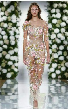 Valentino spring summer outfit. beautifull. pink white floral sequenced net dress