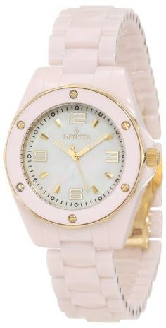 Invicta Women's 10260 Ceramics White Mother-Of-Pearl Dial Pink Ceramic Watch Invicta. $139.95. Flame-fusion crystal; pink ceramic case and bracelet. White mother of pearl dial with gold tone hands, hour markers and arabic numerals; luminous; 18k gold ion-plated hexigon shaped bezel with pink ceramic ring and gold-plated screws; 18k gold ion-plated stainless steel screw-down crown. Gold tone second hand. Swiss quartz movement. Water-resistant to 100 M (330 feet)